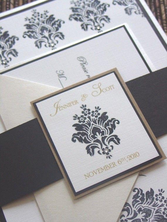 Satin Damask Wedding Invitation Handmade by ScenicWoodsPaperie, $8.00