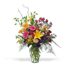 With this rather exceptional arrangement of bright red, yellow and purple flowers, you can show that special someone just how much they really count.