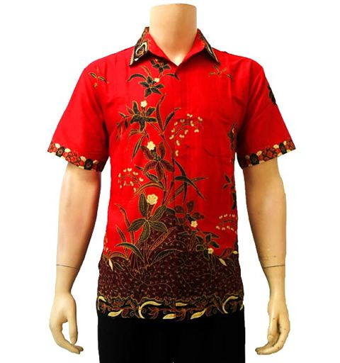 Kemeja batik modern merah