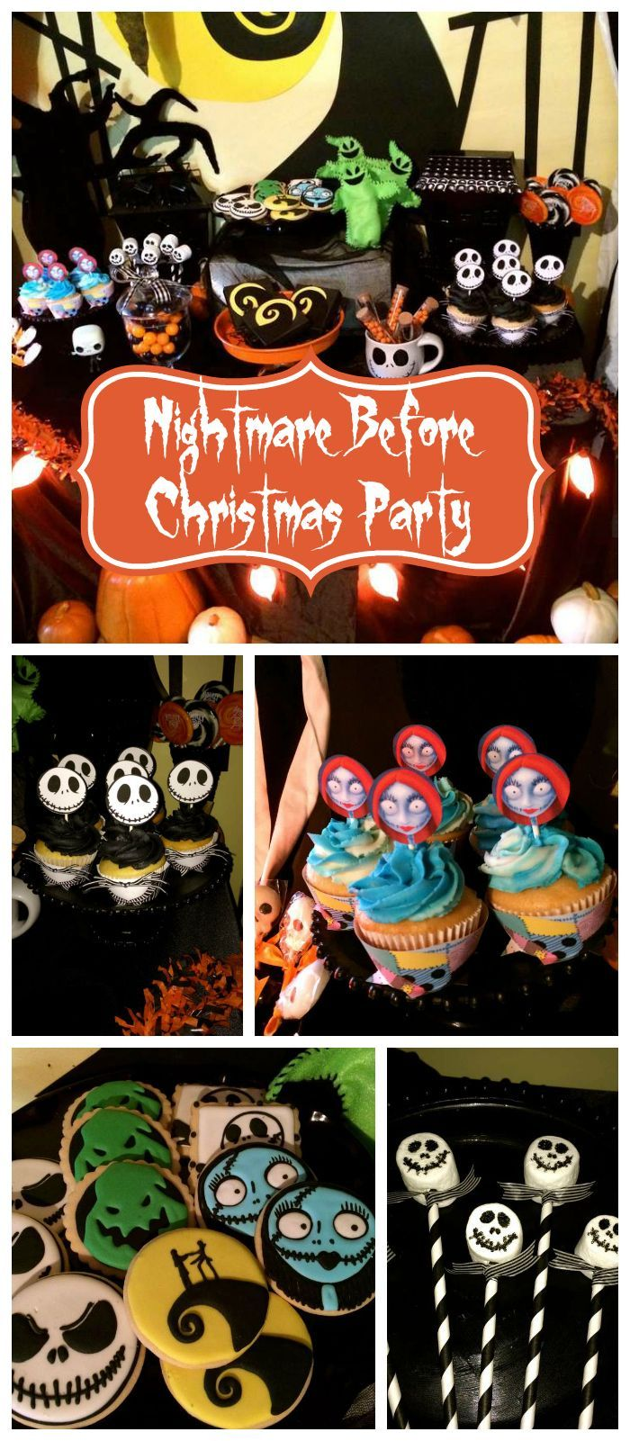 A Nightmare Before Christmas party with marshmallow pops and Jack and Sally inspired cupcakes! See more party planning ideas at CatchMyParty.com!