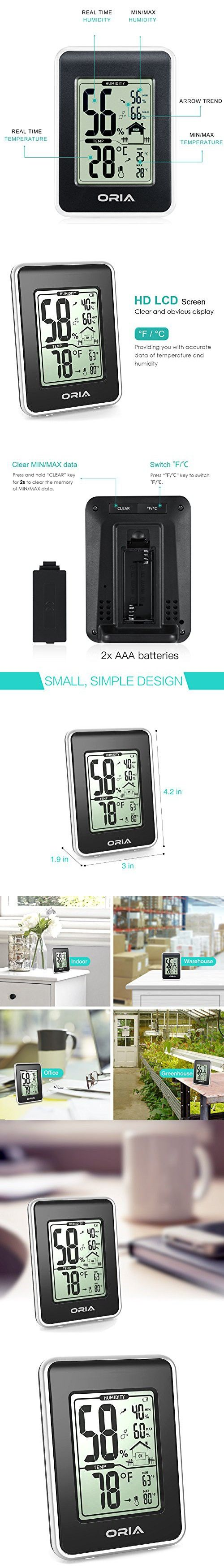 Oria hygrometer thermometer indoor digital weather station hygrothermograph multifunctional temperature and humidity monitor