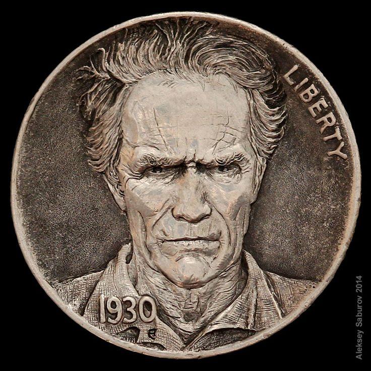 Portrait of a Clint Eastwood by master-engraver Aleksey Saburov