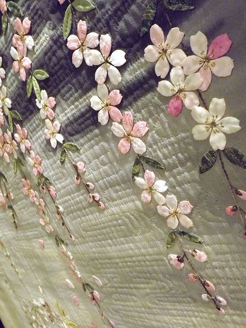 """Michiyo Yamamoto Chicago """"Spring Full Bloom"""" shown at 2011 International Quilt Festival, Houston """"...memories of cherry blossoms in the evening moonlight..."""" Several more detail shots (and other IQF 2011 quilts) at this flickr stream"""