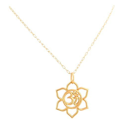 """Lotus Flower and Om Necklace in 24 kt Gold Plated Sterling Silver on an 18"""" Gold Filled Drawn Cable Chain #6406-yg"""