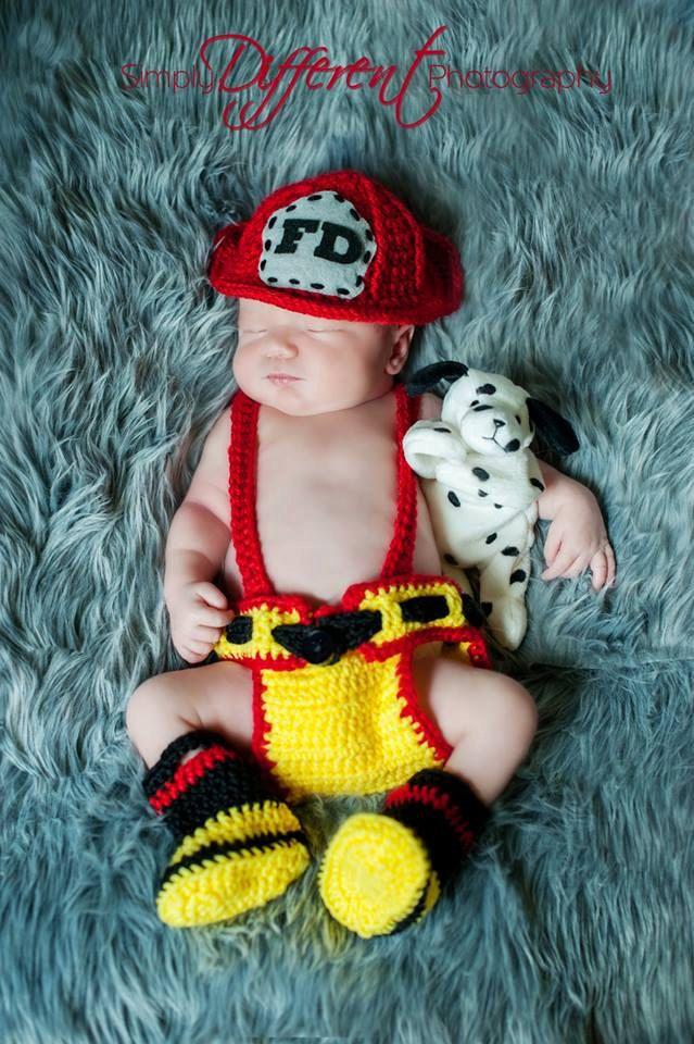 Newborn Fireman / Firefighter Crochet Outfit / by BrianaKcrochet, $45.00