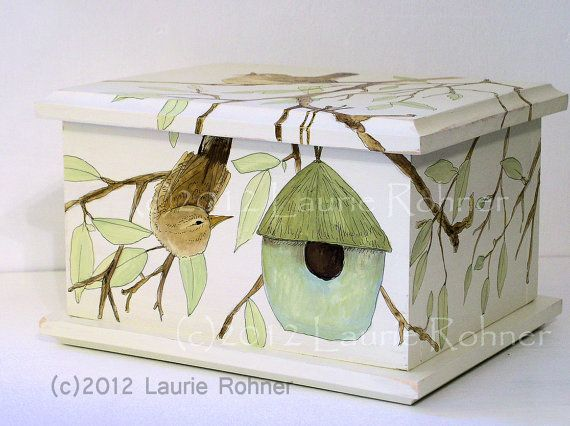 Cottage Furniture Hand Painted Wood Box by BetweenTheWeeds on Etsy