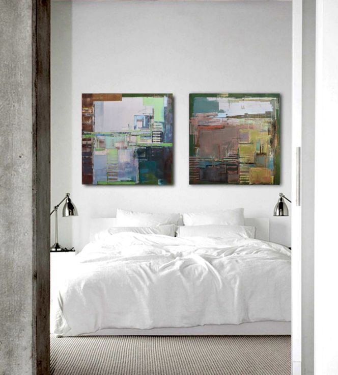 "Buy Oil painting, canvas art, stretched, diptych ""Abstract cityscape II"".Size 55.11/27.5 inches (2x 27.5 x 27.5 inch -140/70cm)., Oil painting by Karina Antończak on Artfinder. Discover thousands of other original paintings, prints, sculptures and photography from independent artists."
