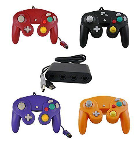 Sealed Red/Black/Purple/Orange GameCube Controllers + Wii U Adapter for Super Smash Bros
