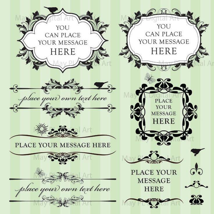 Vintage Leaf Digital Frame Black Nostalgia Silhouette Clip Art Victorian DIY Wedding Invitations Scrapbook Supplies Page Decorations 10184. $6.20, via Etsy.