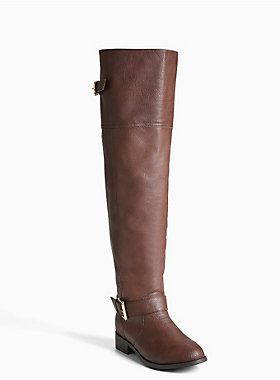 Size 10 Give your other boots...the boot! This over the knee design sports a textured brown faux leather material that's glammed up by wraparound ankle and calf straps.