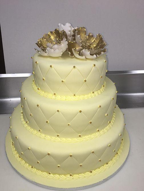 Three Tier Cream Quilt Wedding Cake