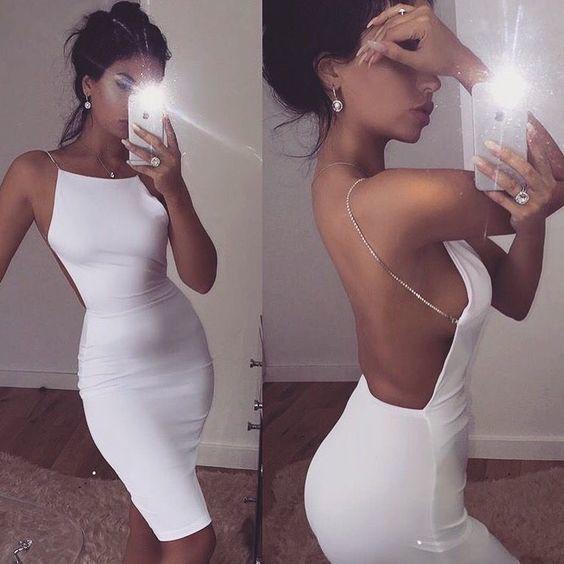 White Backless Pencil Dress,Short Homecoming Dress,Fashion Homecoming Dresses,5725