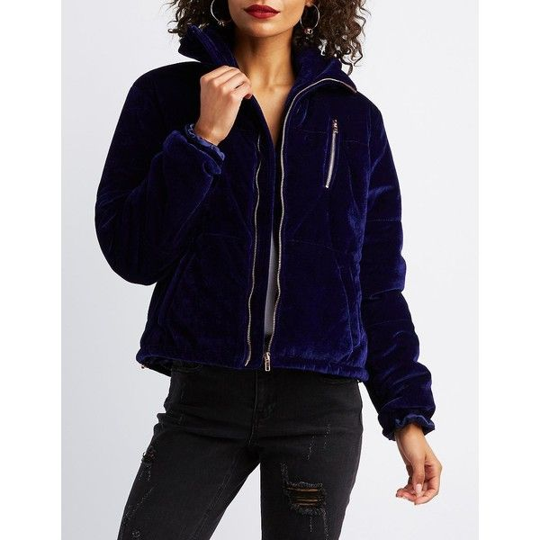 Charlotte Russe Velvet Quilted Puffer Jacket ($27) ❤ liked on Polyvore featuring outerwear, jackets, navy, blue velvet jacket, navy blue jacket, blue puffer jacket, bomber jackets and navy bomber jacket