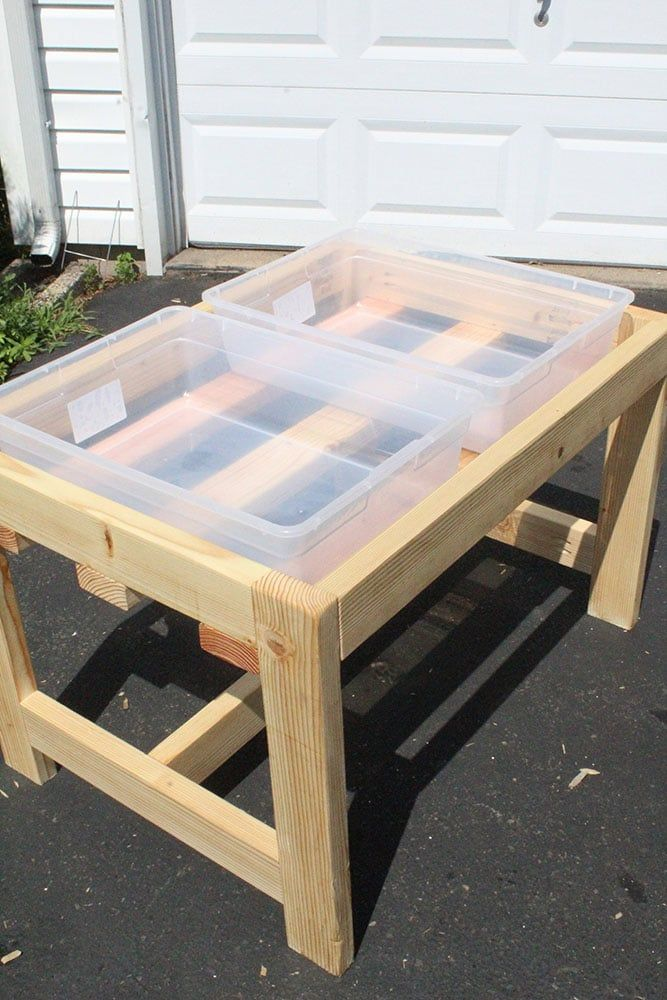 How To Build A Diy Sand And Water Table Easy Sensory Table With Lids In 2020 Water Table Diy Sand And Water Table Kids Water Table