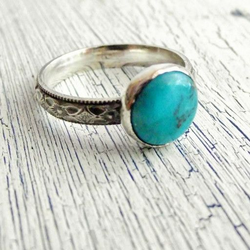 2d52f7db03e9a9 An Arizona Blue Turquoise Ring with a diamond floral pattern band. This is  a favorite of mine to make and I have stocked up on these beautiful  turquoise ...