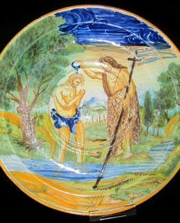 Bautismo de Cristo, plato en cerámica italiana, siglos XVIII-XIX
