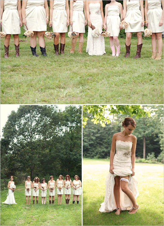 cream bridesmaid dresses, love the pose of the bride showing off her shoes and garter