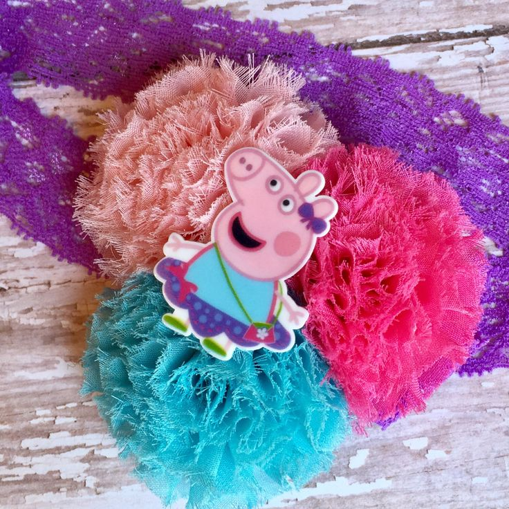 Disney Peppa Pig Headband, Newborn and Baby Cartoon Character Headband, Pink, Aqua/Blue and Purple Shabby  Chic  Chiffon  Flower  Headband by SundayChildBoutique on Etsy https://www.etsy.com/listing/491039871/disney-peppa-pig-headband-newborn-and