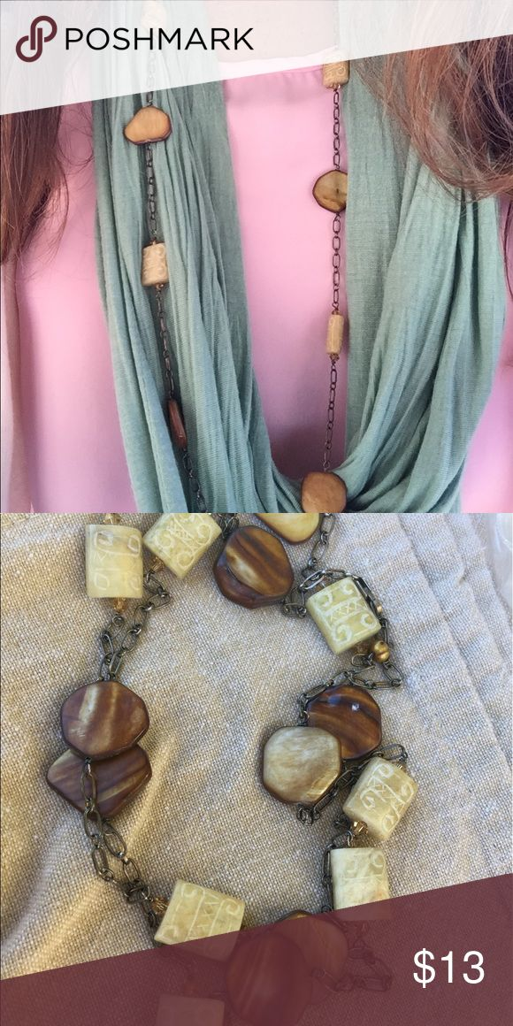 Beige and brown necklace Can be worn wrapped or long. Beautiful details on stones. Hoes with almost everything! I love it but need to clean out my jewelry supply Jewelry Necklaces