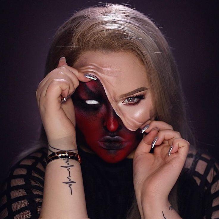 demon pulled up skin halloween makeup tutorial youtube - 736×736