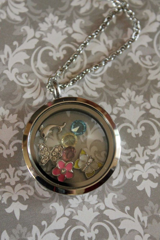Stainless steel floating locket nature lover crystals flower butterfly dolphin
