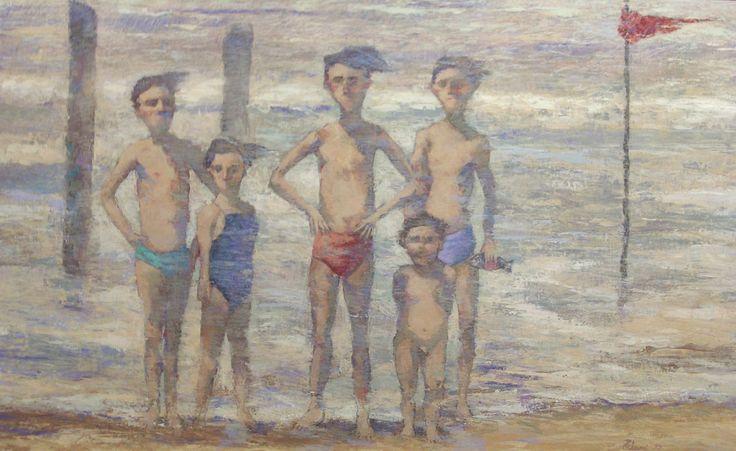 Giampaolo Talani Cinque ragazzi sulla spiaggia