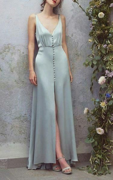 Low Cut Deep V Neck Blue Maxi Dress,Sexy Satin Long Prom/Evening/Bridesmaid Dress with Buttons,Sexy Blue Maxi Dress