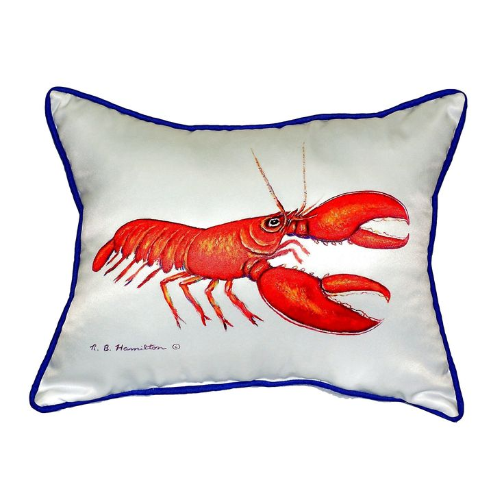 Betsy Drake Red Lobster Small Indoor/ Outdoor Throw Pillow