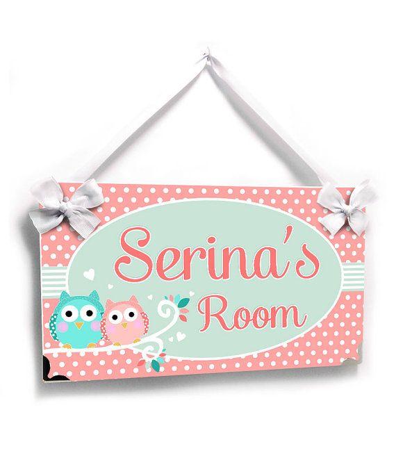 personalized owls bedroom decor kids door signs  by kasefazem