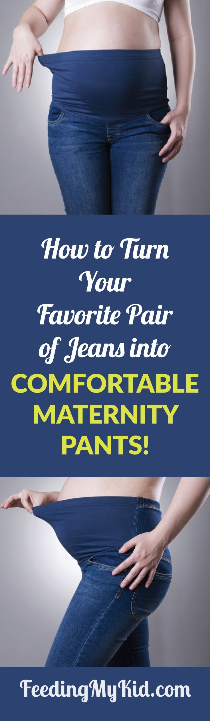 This is a must pin! Are you having trouble finding maternity jeans? Check out this video on how to turn your favorite jeans into maternity pants.  Feeding My Kid is filled with all the information you need about how to raise your kids, from healthy tips to nutritious recipes. #FeedingMyKid #maternitywear #maternityjeans #pregnancy