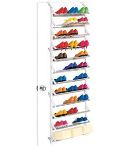Instantly transform the back of a door into a convenient shoe organizer with a 36 Pair Over Door Shoe Rack.  This 36 Pair Over Door Shoe Rack includes a pair of brackets that fit on household doors measuring 1 3/8 inch thick or can be customized for mounting onto a wall or different size doors.36 Pair Over Door Sho