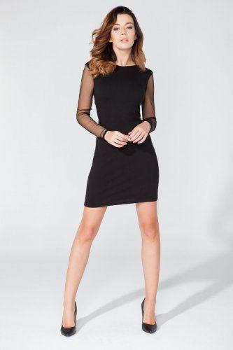 667c54695 Elegancka sukienka - mała czarna z zmysłowo odkrytymi plecami. Sukienka  wieczorowa z tiulowymi rękawami -