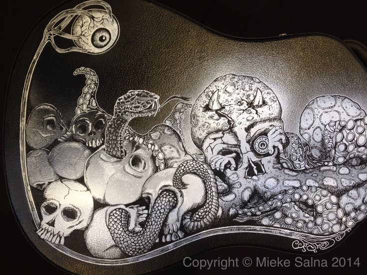 This artwork i created with spray paint and Posca pens | Guitar case design 'Octopus' Graveyard