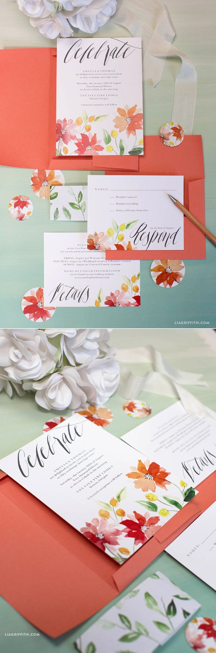 Floral watercolour wedding invitations invites to download and print