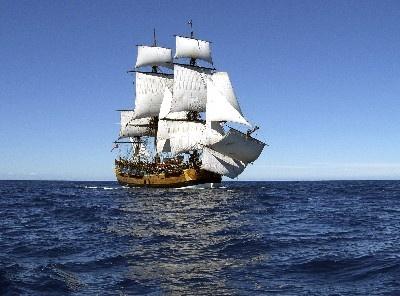 A replica of Captain Cook's ship, The Endeavor.