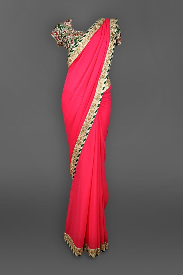 Featuring a pink georgette sari with crystal &kundan border