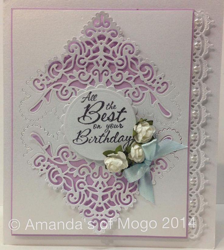 White & lilac elegant die cut card #amandasofmogo #tatteredlace #birthdaycard #mogo #mogovillage #handmade #cardmaking #papercraft