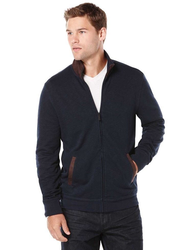 #FashionVault #perry ellis #Men #Tops - Check this : Perry Ellis Faux Suede Full Zip Sweater for $89.5 USD