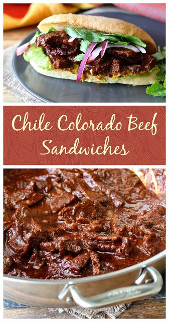 Tortas de Chile Colorado de Res are Mexican sandwiches made with beef simmered… #secretrecipeclub