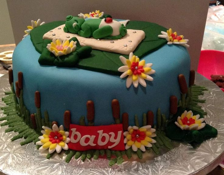 Little Frog Themed Baby Shower Cake decorated by Coast Cakes Ltd