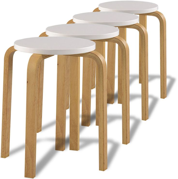 Small Wooden Stools Kitchen Breakfast Modern Style Stool