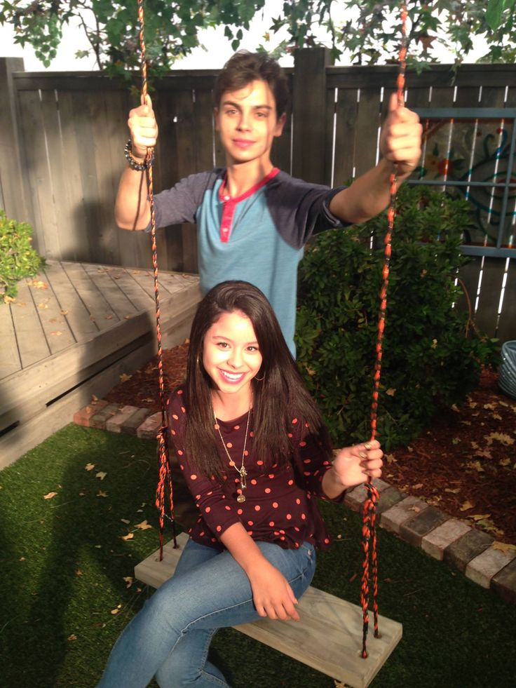 Jake T. Austin and Cierra Ramirez on the set of The Fosters!