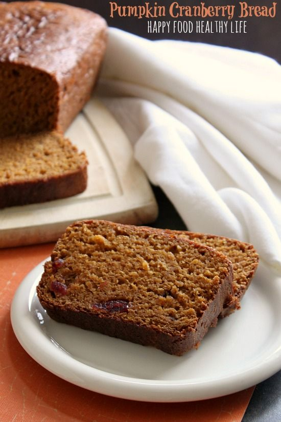 Pumpkin Cranberry Bread. A simple quick bread that is sure to please your friends and family this fall season. // www.happyfoodhealthylife.com