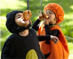 Perfect for kids party game - donut on a string.  Eat hands-free, first one to finish wins.