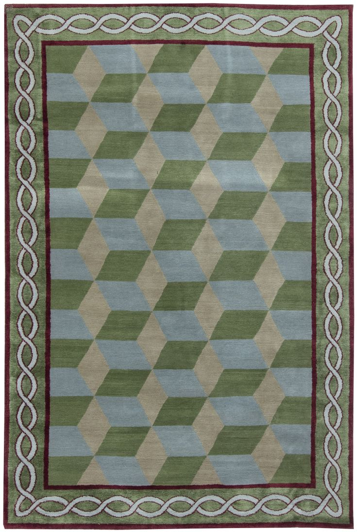 Tibetan Rugs: Tibetan Rug perfect for modern interior decor, contemporary living room, geometric rug