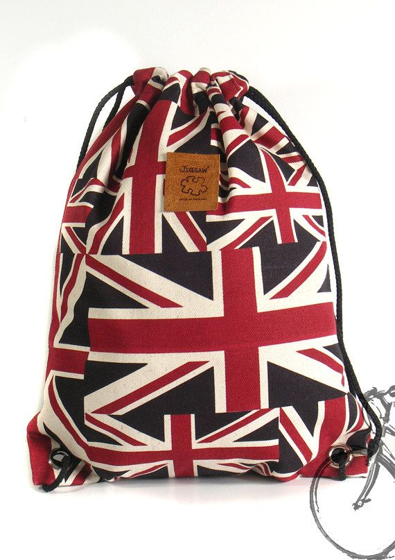 20% off [orig. 14.99] Union Jack drawstring bag Canvas Cotton Backpack Laptop bag Hip bag Handmade bag