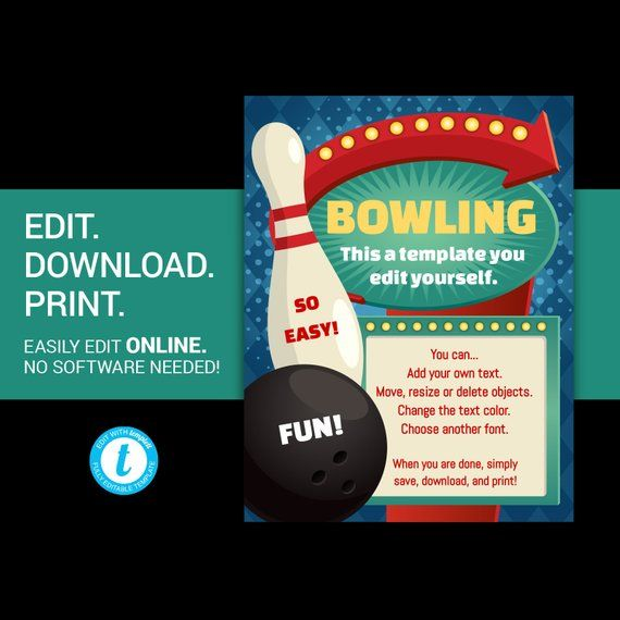 Editable Bowling Party Flyer Bowling League Flyer Bowling Etsy Bowling Birthday Party Bowling Party Party Flyer