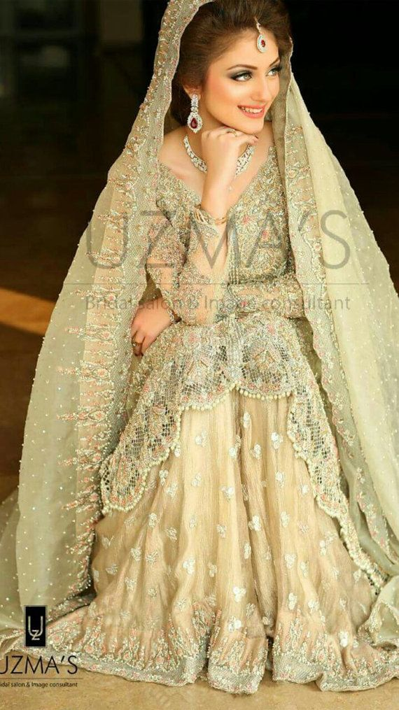 Pakistani Bridal Dress- Pastel Green and Pink Heavy Wedding Formal Dress- Indian, Pakistani, Bollywood Bridal Dress