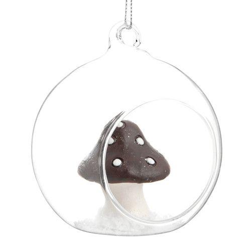 Besneeuwde paddenstoel kerstbol