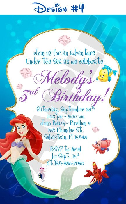 Disney Princess Ariel Little Mermaid Birthday Party Photo Invitations - Printable. $11.99, via Etsy.